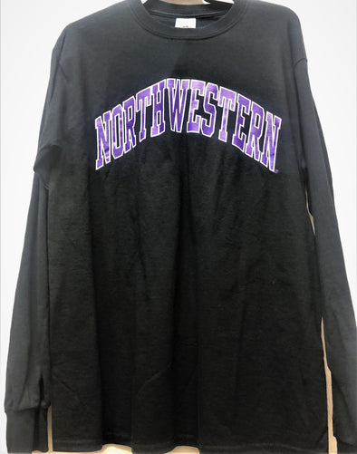 Northwestern Wildcats Arch Long Sleeve T-Shirt-Black