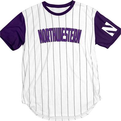 Northwestern Wildcats Purple Pinstripe Baseball T-Shirt