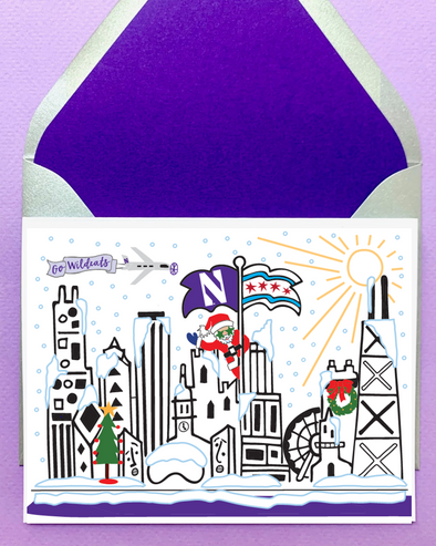 Northwestern Wildcats Mighty Santa Holiday Cards