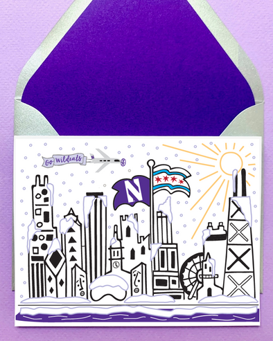 Northwestern Wildcats Mighty Chicago Winter Note Card