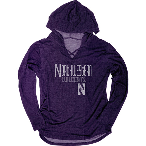 Northwestern Wildcats Women's CroShort Sleeve Over Hoodie