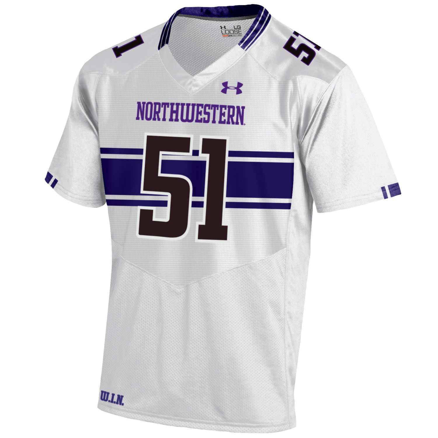 Northwestern Wildcats Under Armour® Adult Football Replica Jersey - White -
