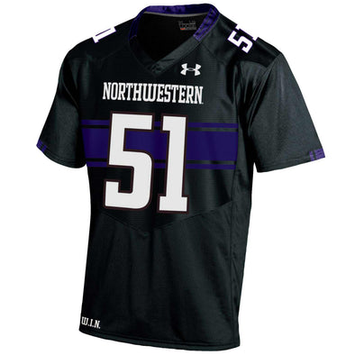 Northwestern Wildcats Under Armour® Adult Football Replica Jersey - Black