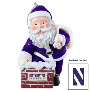 Northwestern Wildcats Santa In The Chimney Ornament