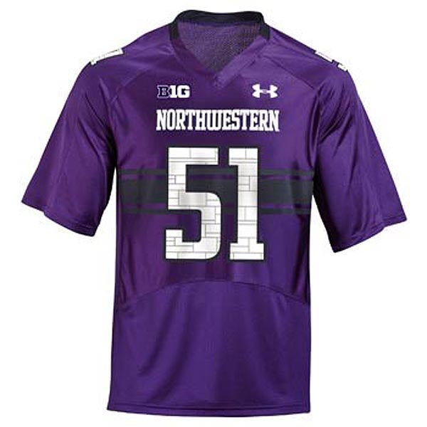 Northwestern Wildcats Under Armour® #51 Adult Replica Football Jersey - Purple