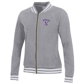 Northwestern Wildcats Ladies Sherpa Baseball Jacket
