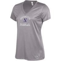 Northwestern Wildcats Under Armour® Women's Grey Tech V-Neck T-Shirt