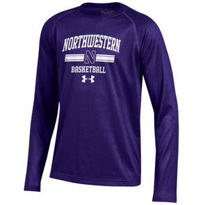 Northwestern Wildcats Under Armour® Youth Long Sleeve Purple Basketball T-Shirt