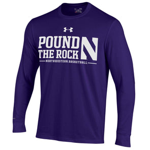 Northwestern Wildcats Pound The Rock Adult Long Sleeve T-Shirt