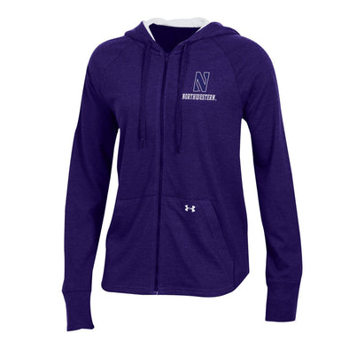 Northwestern Wildcats Under Armour Ladies Tri-Blend Hooded Full Zip