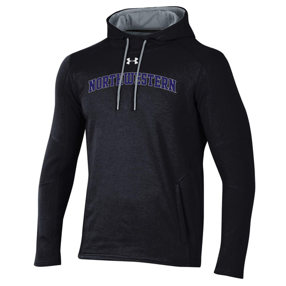Northwestern University Wildcats Under Armour Threadborne Ridge Fleece Hood-Black