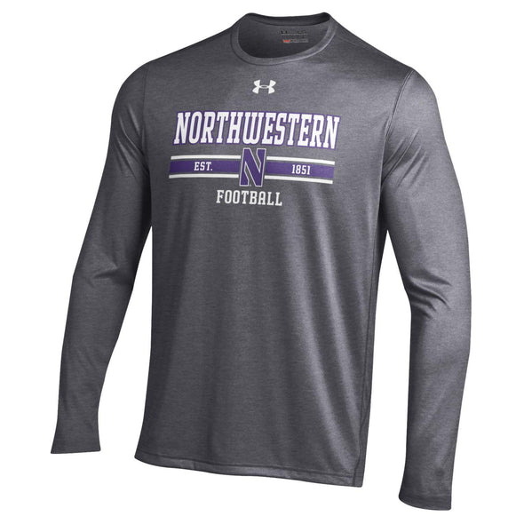 Northwestern Wildcats Under Armour Charcoal Football Stripe Long Sleeve Tee
