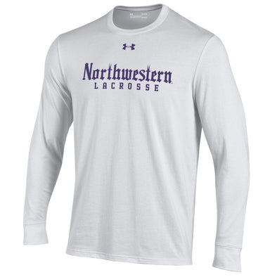 Northwestern Wildcats White Gothic Lacrosse Long Sleeve Tee