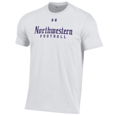 Northwestern Wildcats Under Armour Gothic Football T-Shirt-White