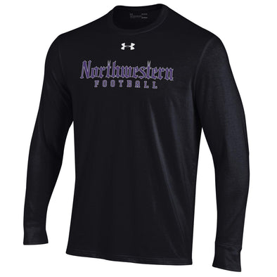 Northwestern Wildcats Black Gothic Football Tee-Long Sleeve