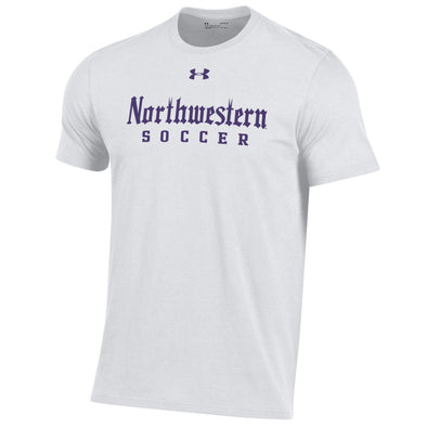 Northwestern Wildcats Under Armour Gothic Soccer T-Shirt-White