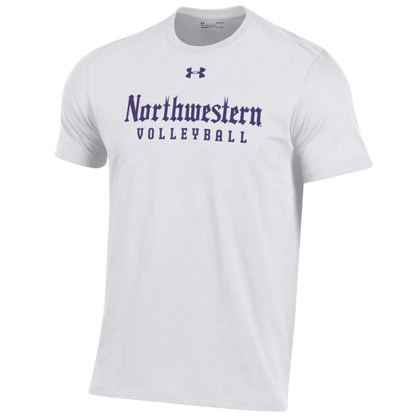 Northwestern Wildcats Under Armour Gothic Volleyball T-Shirt-White