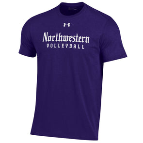Northwestern Wildcats Under Armour Gothic Volleyball T-Shirt-Purple