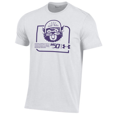 Northwestern Wildcats Under Armour College Football 150th Anniversary Retro  White Tee-Adult