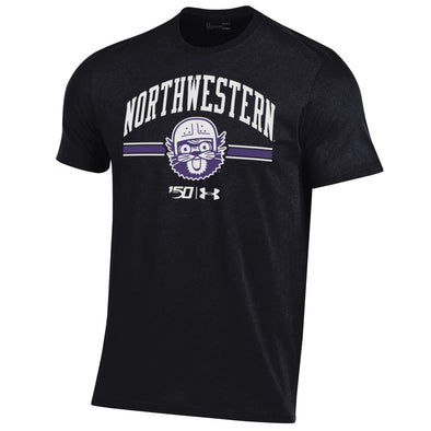 Northwestern Wildcats Under Armour College Football 150th Anniversary Retro Black Tee-Adult