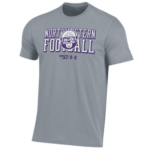 Northwestern Wildcats Under Armour College Football 150th Anniversary Retro Grey Tee-Youth