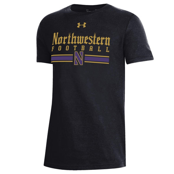 Northwestern Wildcats Youth Gothic Football Stripe Tee