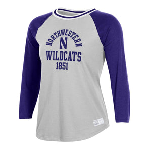 Northwestern Wildcats Under Armour Ladies Gameday Baseball Tee-Silver Heather/Purple