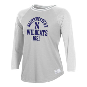 Northwestern Wildcats Under Armour Ladies Gameday Baseball Tee-Silver Heather/Onyx