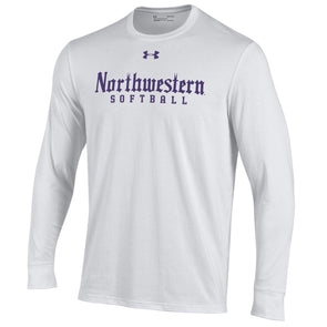 Northwestern Wildcats White Gothic Softball L/S Tee