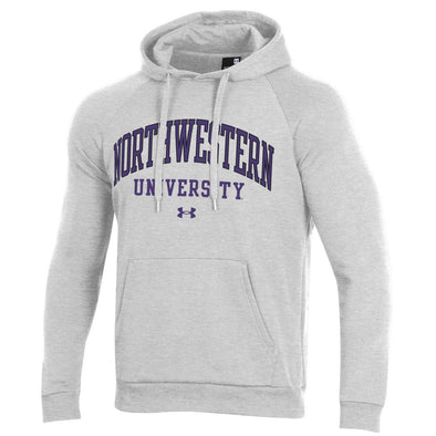 Northwestern Wildcats Under Armour All Day Fleece Hooded Sweatshirt-Silver Heather