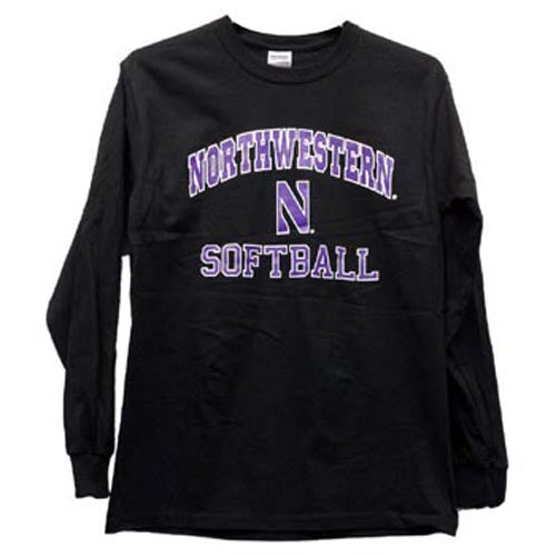 Northwestern Wildcats Black Northwestern N Long Sleeve Softball T-Shirt