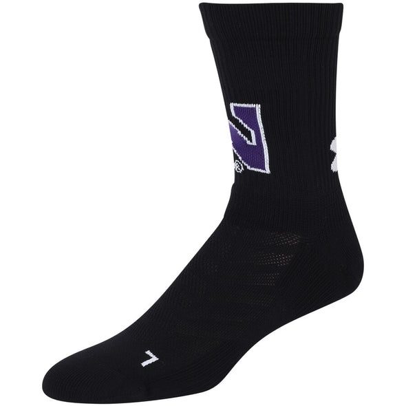 Northwestern Wildcats Under Armour Training Crew Socks Adult-Black