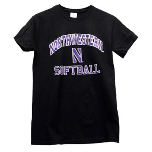 Northwestern Wildcats Black Northwestern N Short Sleeve Softball T-Shirt