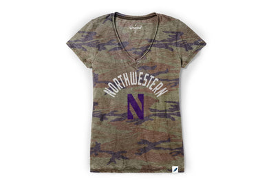 Northwestern Wildcats Ladies Camo Tee