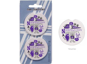Northwestern Wildcats Car Coasters