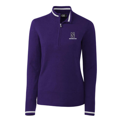 Northwestern Wildcats Cutter & Buck Ladies Lakemont Tipped Half Zip