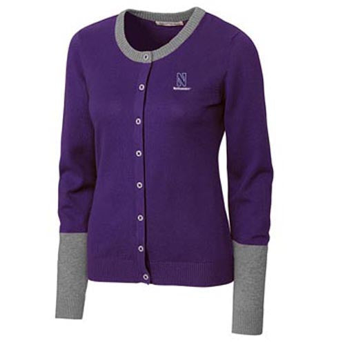 Northwestern Wildcats Cutter & Buck Women's Curriculum Colorblock Cardigan
