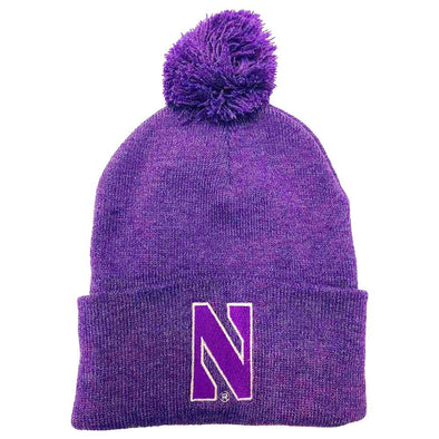 Northwestern Wildcats Purple Heather Pom Knit Hat