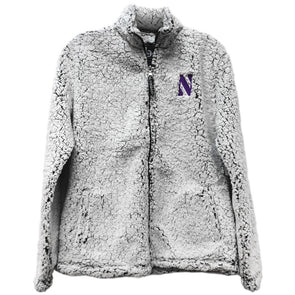 Northwestern Wildcats Ladies Frosty Grey Full Zip Sherpa Jacket