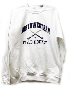 Northwestern Wildcats White Field Hockey Sweatshirt Crew