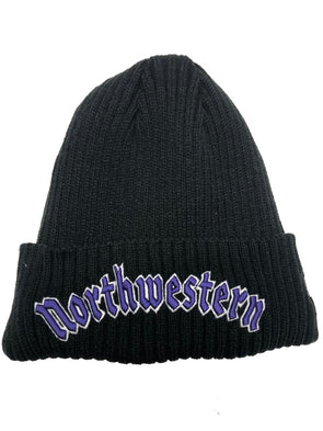 Northwestern Wildcats Gothic Fleece Lined Knit Hat-Black