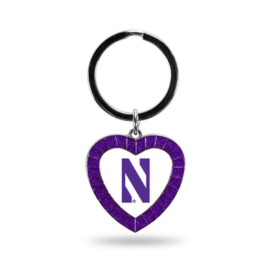 Northwestern Wildcats Colored Rhinestone Heart Keychain - Purple