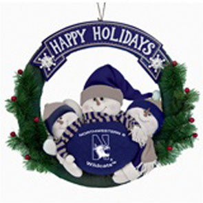 Northwestern Wildcats Snowman Wreath