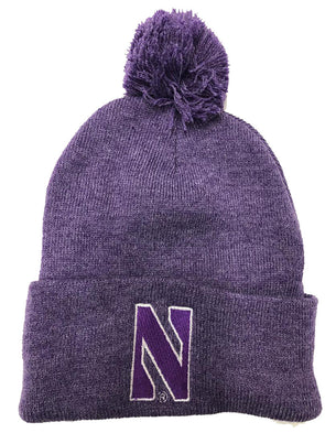 Northwestern Wildcats Lavender Pom Knit Hat