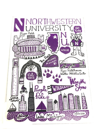 Northwestern Wildcats Campus Magnet- 4' x 3""