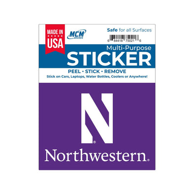 Northwestern Wildcats Multi-Purpose Sticker- N Northwestern