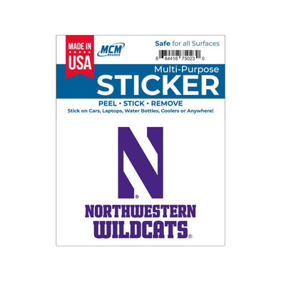 Northwestern Wildcats Multi-Purpose Sticker- N Northwestern Wildcats