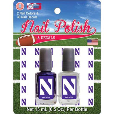 Northwestern Wildcats Nail Polish & Decals Set