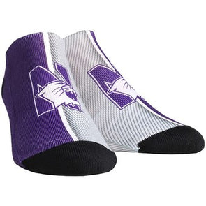 Northwestern Wildcats Campus Stripe Ankle Socks-Adult