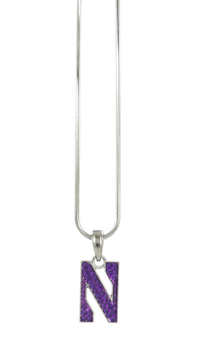 Northwestern Wildcats Crystal N Logo Pendant Necklace